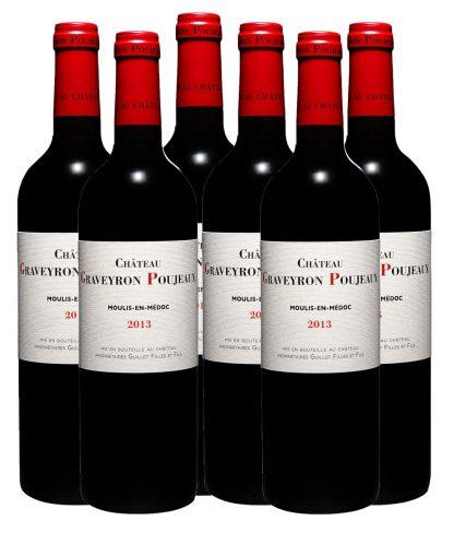 6 bouteilles graveyron poujeaux 2013